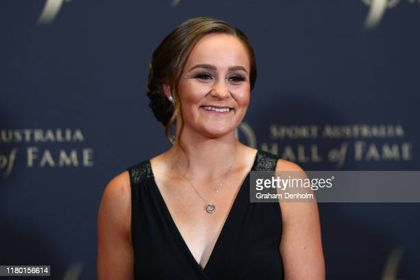 Ashleigh Barty arrives ahead of the Sport Australia Hall of Fame Induction and Awards Gala Dinner at Crown Palladium on October 10, 2019 in...