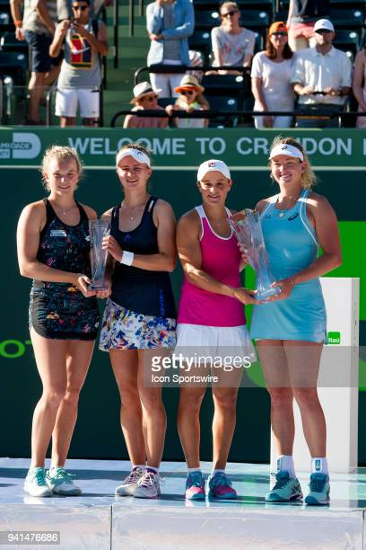 Ashleigh Barty CoCo Vandeweghe and Barbora Krejcikova Katerina Siniakova pose after Ashleigh and CoCo win the Womens Doubles Final of the Miami Open...