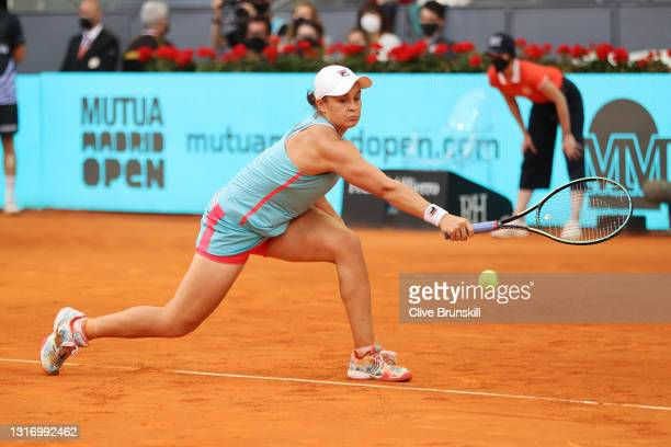 Ashleigh Barty hits a backhand during the womens single final match between Aryna Sabalenka and Ashleigh Barty on Day Ten of the Mutua Madrid Open at...