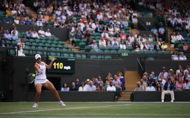 Ashleigh Barty in action against Barbora Krej?íková in the Round of 16 Womens Singles on court 1 on day seven of Wimbledon at The All England Lawn...