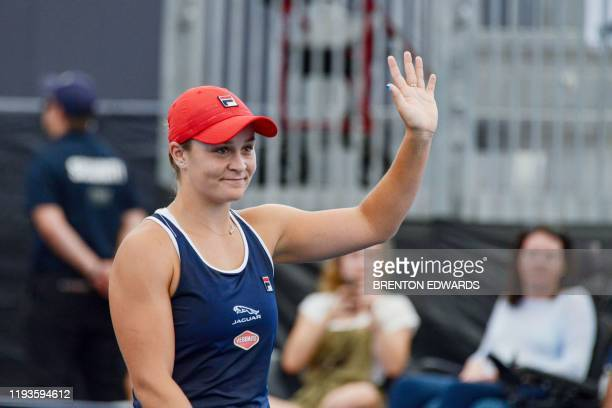 Ashleigh Barty of Australia acknowledges the crowd after defeating Anastasia Pavlyuchenkova of Russia in their women's second round singles match at...