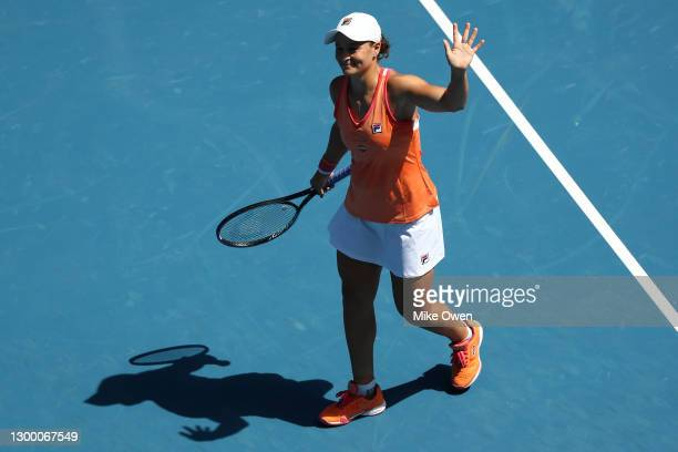 Ashleigh Barty of Australia acknowledges the crowd after winning her match against Marie Bouzkova of the Czech Republic during day four of the WTA...