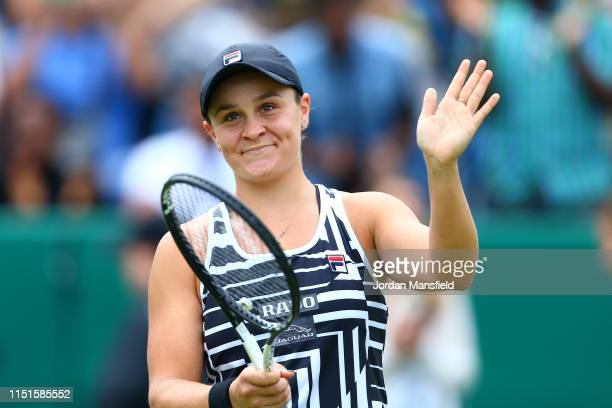 Ashleigh Barty of Australia acknowledges the crowd following her victory in the final match during day seven of the Nature Valley Classic at...