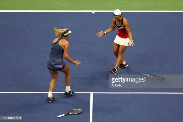 Ashleigh Barty of Australia and Coco Vandeweghe of the United States celebrate match point after winning the women's doubles final against Timea...