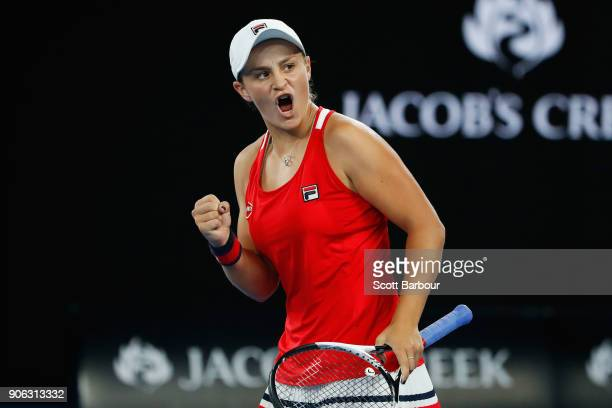 Ashleigh Barty of Australia celebrates a point in her second round match against Camila Giorgi of Italy on day four of the 2018 Australian Open at...