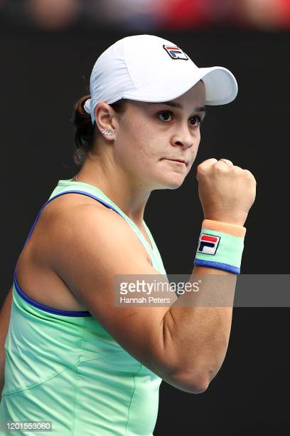 Ashleigh Barty of Australia celebrates after winning a point during her Women's Singles third round match against Elena Rybakina of Kazakhstan on day...
