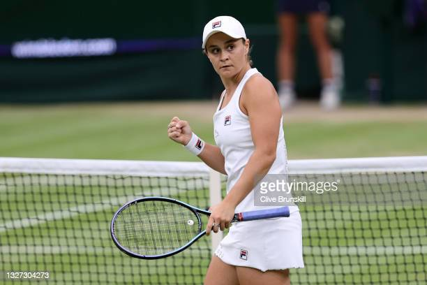 Ashleigh Barty of Australia celebrates after winning the first set in her Ladies' Singles Quarter-Final match against Ajla Tomljanovic of Australia...