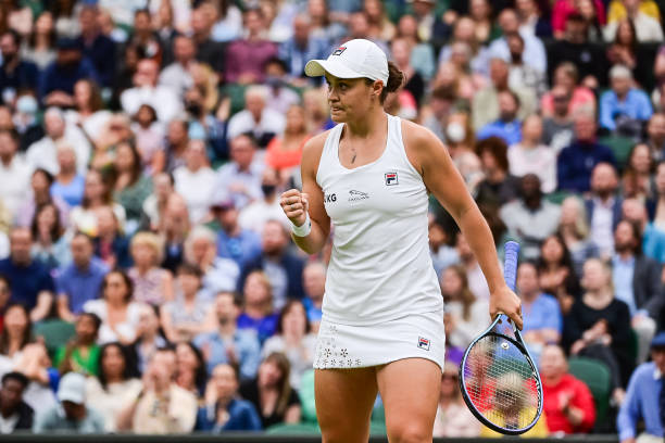 Ashleigh Barty of Australia celebrates during her match against Ajla Tomljanovic of Australia in the quarter finals of the ladies singles during Day...