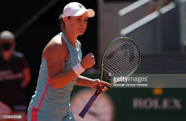 Ashleigh Barty of Australia celebrates during her quarterfinal match against Petra Kvitova of Czech Republic during day seven of the Mutua Madrid...
