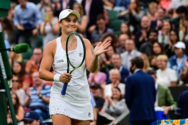 Ashleigh Barty of Australia celebrates her victory over Ajla Tomljanovic of Australia in the quarter finals of the ladies singles during Day Eight of...