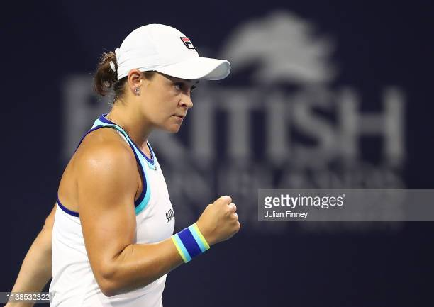 Ashleigh Barty of Australia celebrates in her match against Petra Kvitova of Czech Republic during the Miami Open tennis on March 26 2019 in Miami...