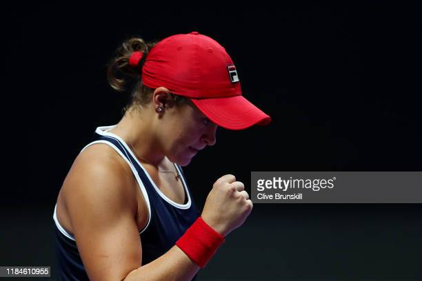Ashleigh Barty of Australia celebrates match point against Petra Kvitova of the Czech Republic during their Women's Singles match on Day Five of the...
