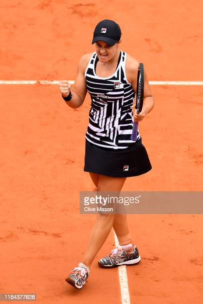 Ashleigh Barty of Australia celebrates victory during her ladies singles semifinal match against Amanda Anisimova of The United States during Day...