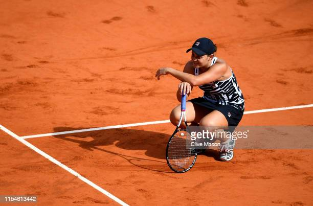 Ashleigh Barty of Australia celebrates victory during the ladies singles final against Marketa Vondrousova of The Czech Republic during Day fourteen...