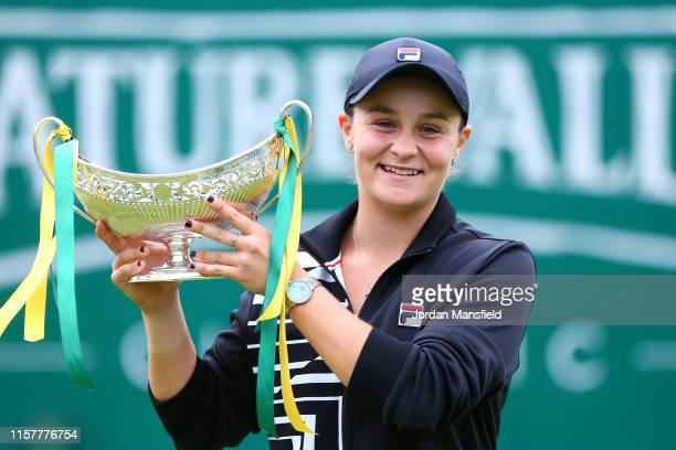Ashleigh Barty of Australia celebrates victory in her final match against Julia Goerges of Germany on day seven of the Nature Valley Classic at...