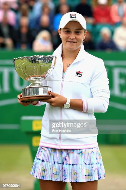 Ashleigh Barty of Australia celebrates victory in the Womens Singles Final during Day Nine of the Nature Valley Open at Nottingham Tennis Centre on...