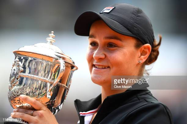 Ashleigh Barty of Australia celebrates victory with the trophy following the ladies singles final against Marketa Vondrousova of The Czech Republic...