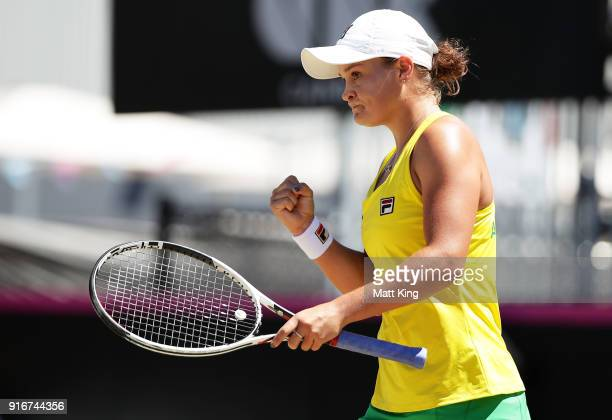 Ashleigh Barty of Australia celebrates winning a point in her singles match against Marta Kostyuk of Ukraine during the Fed Cup tie between Australia...