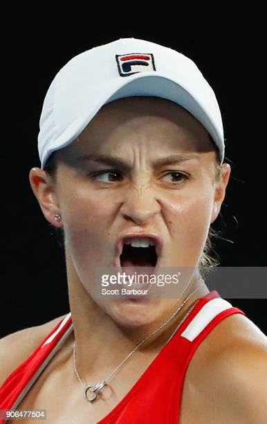 Ashleigh Barty of Australia celebrates winning a set in her second round match against Camila Giorgi of Italy on day four of the 2018 Australian Open...