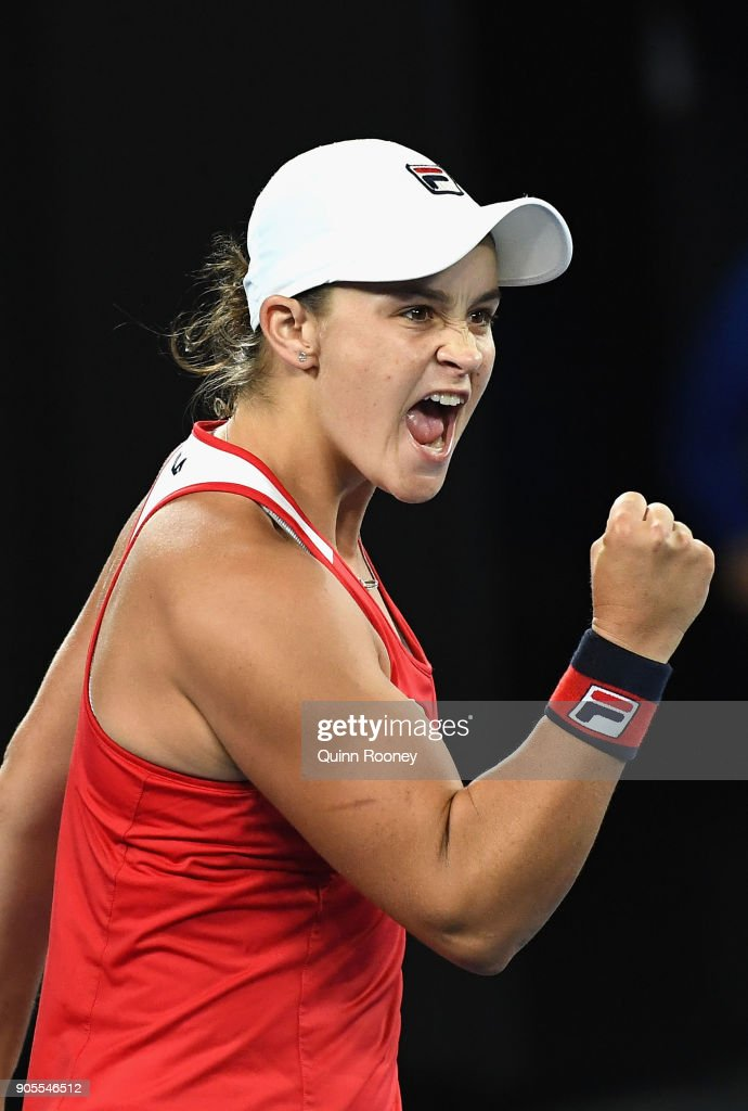 Ashleigh Barty of Australia celebrates winning her first round match against Aryna Sabalenka of Belarus on day two of the 2018 Australian Open at Melbourne Park on January 16, 2018 in Melbourne, Australia.