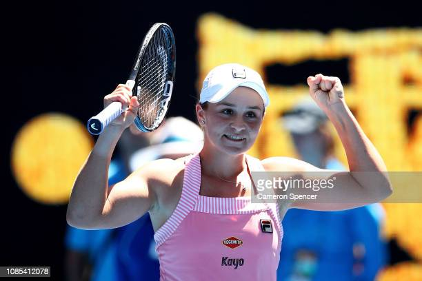 Ashleigh Barty of Australia celebrates winning her fourth round match against Maria Sharapova of Russia during day seven of the 2019 Australian Open...
