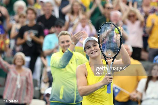 Ashleigh Barty of Australia celebrates winning her match against Aryna Sabalenka of Belarus during the Fed Cup World Group Semi Final Australia v...