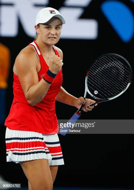 Ashleigh Barty of Australia celebrates winning her second round match against Camila Giorgi of Italy on day four of the 2018 Australian Open at...