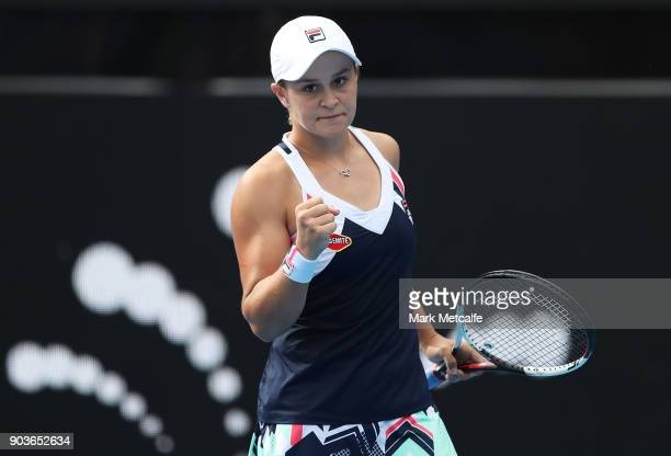 Ashleigh Barty of Australia celebrates winning match point in her quarter final match against Barbora Strycova of the Czech Republic during day five...