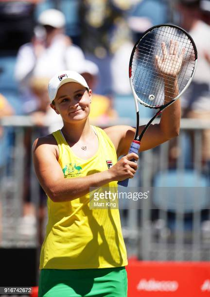 Ashleigh Barty of Australia celebrates winning match point in her singles match against Marta Kostyuk of Ukraine during the Fed Cup tie between...