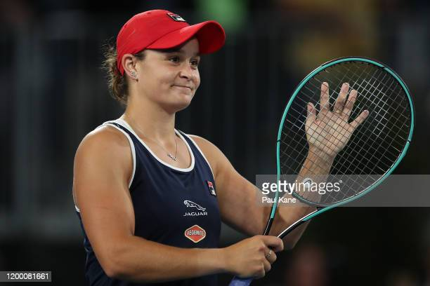 Ashleigh Barty of Australia celebrates winning the semi final match against Danielle Collins of the USA during day six of the 2020 Adelaide...