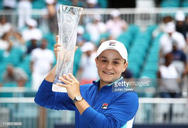 Ashleigh Barty of Australia celebrates with the trophy after her win against Karolina Pliskova of Czech Republic in the final during day thirteen of...