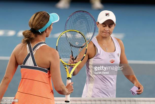 Ashleigh Barty of Australia defeated by Danielle Collins of the USA during day three of the Adelaide International WTA 500 at Memorial Drive on...