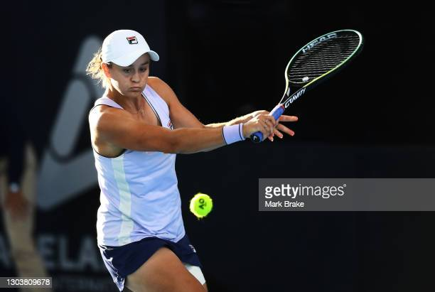 Ashleigh Barty of Australia during her match against Danielle Collins of the USA on day three of the Adelaide International WTA 500 at Memorial Drive...