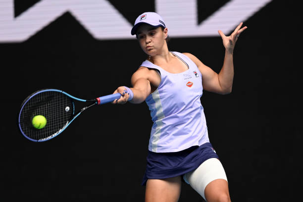 Ashleigh Barty of Australia hits a forehand against Daria Gavrilova of Australia during day four of the 2021 Australian Open at Melbourne Park on...