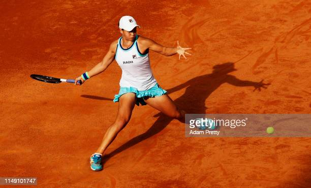 Ashleigh Barty of Australia hits a forehand to Viktoria Kuzmova of Slovakia during their match during day three of the International BNL d'Italia at...