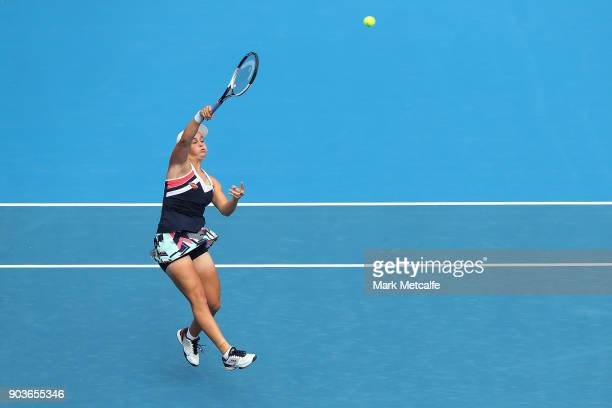 Ashleigh Barty of Australia hits a smash in her quarter final match against Barbora Strycova of the Czech Republic during day five of the 2018 Sydney...
