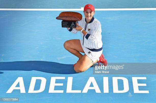 Ashleigh Barty of Australia hold up the Adelaide Womens Singles Champion trophy after defeating Dayana Yastremska of the Ukraine during day seven of...