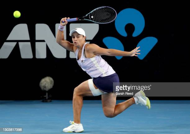 Ashleigh Barty of Australia in action against Danielle Collins of the USA during day three of the Adelaide International WTA 500 at Memorial Drive on...