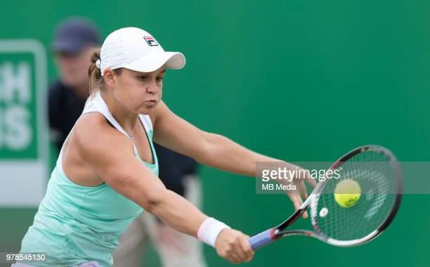 Ashleigh Barty of Australia in action against Johanna Konta of Great Britain during Day Nine of the Nature Valley Open at Nottingham Tennis Centre on...