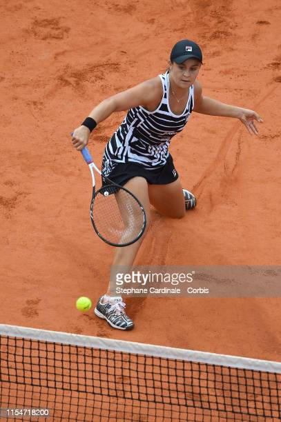 Ashleigh Barty of Australia in action during the women's final on day 14 of the 2019 French Open at Roland Garros stadium on June 8, 2019 in Paris,...