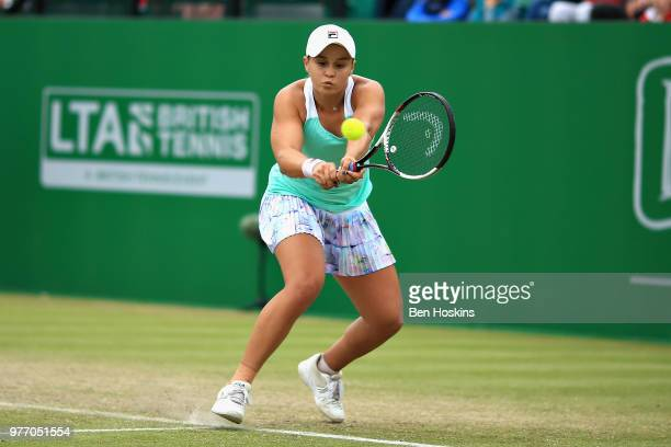 Ashleigh Barty of Australia in action in the Womens Singles Final during Day Nine of the Nature Valley Open at Nottingham Tennis Centre on June 17...