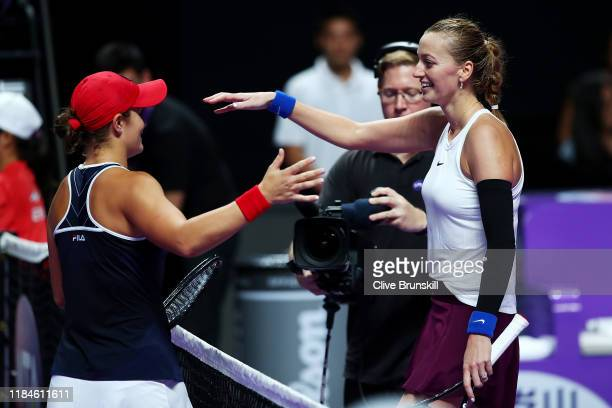 Ashleigh Barty of Australia is congratulated by Petra Kvitova of the Czech Republic after winning their Women's Singles match on Day Five of the 2019...