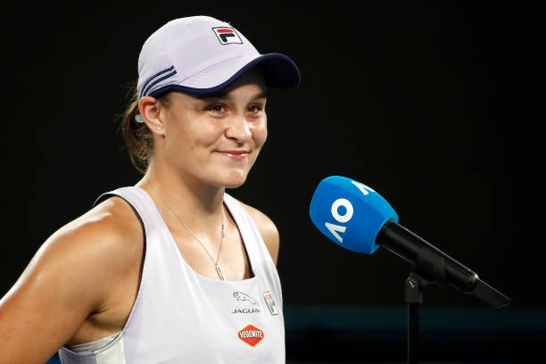 Ashleigh Barty of Australia is interviewed after winning her Women's Singles fourth round match against Shelby Rogers of the United States during day...