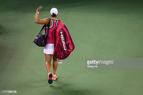 Ashleigh Barty of Australia leaves after losing the Singles semifinal against match against Aryna Sabalenka of Belarus on Day 6 of 2019 Dongfeng...