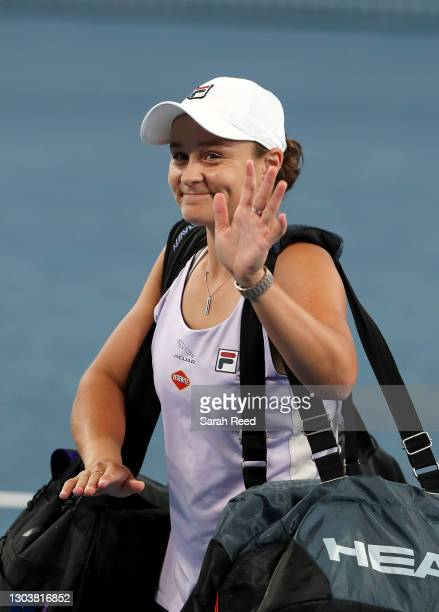 Ashleigh Barty of Australia leaves the court after being defeated by Danielle Collins of the USA during day three of the Adelaide International WTA...