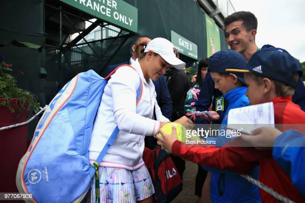 Ashleigh Barty of Australia leaves the court and signs autographs for fans after the Womens Singles Final during Day Nine of the Nature Valley Open...