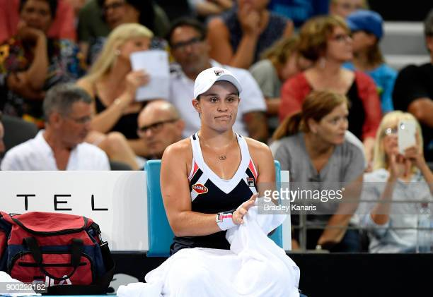 Ashleigh Barty of Australia looks dejected during her match against Lesia Tsurenko of Ukraine during day two of the 2018 Brisbane International at...
