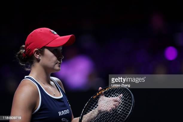 Ashleigh Barty of Australia looks on during her Women's Singles match against Petra Kvitova of the Czech Republic on Day Five of the 2019 Shiseido...