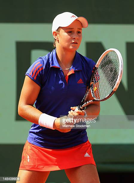 Ashleigh Barty of Australia looks on in her women's singles first round match between Ashleigh Barty of Australia and Petra Kvitova of Czech Republic...