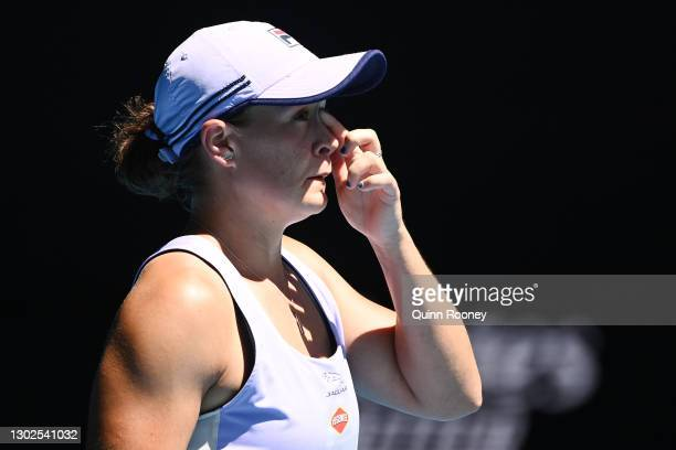 Ashleigh Barty of Australia looks on in her Women's Singles Quarterfinals match against Karolina Muchova of the Czech Republic during day 10 of the...